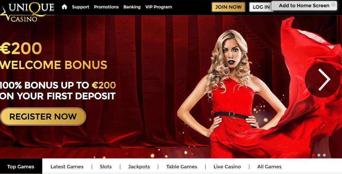 Unique Casino website screenshot